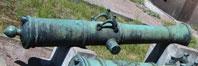 Ствол 6-фунтовой полевой 'новоинвентованной' пушки, бронза. Отлит по чертежам А.К. Нартова. В дульной части ствола раструб (гранатный котел) 0,5 пуда для стрельбы гранатами. 1756 г.  Экспозиция ВИМА СПб.
