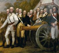 Картина 'Сдача при Саратоге' с изображением 4-фн орудия системы Вальера (фрагмент) - 'The surrender at Saratoga' shows General Daniel Morgan in front of a de Vallière 4-pounder (fragment).