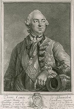Генерал-фельдцейхмейстер П. И. Шувалов. Гравюра Г.Ф. Шмидта. 1760 г.